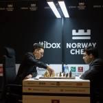 Caruana against Anand. Photo by:  Joachim Goa Steinbru