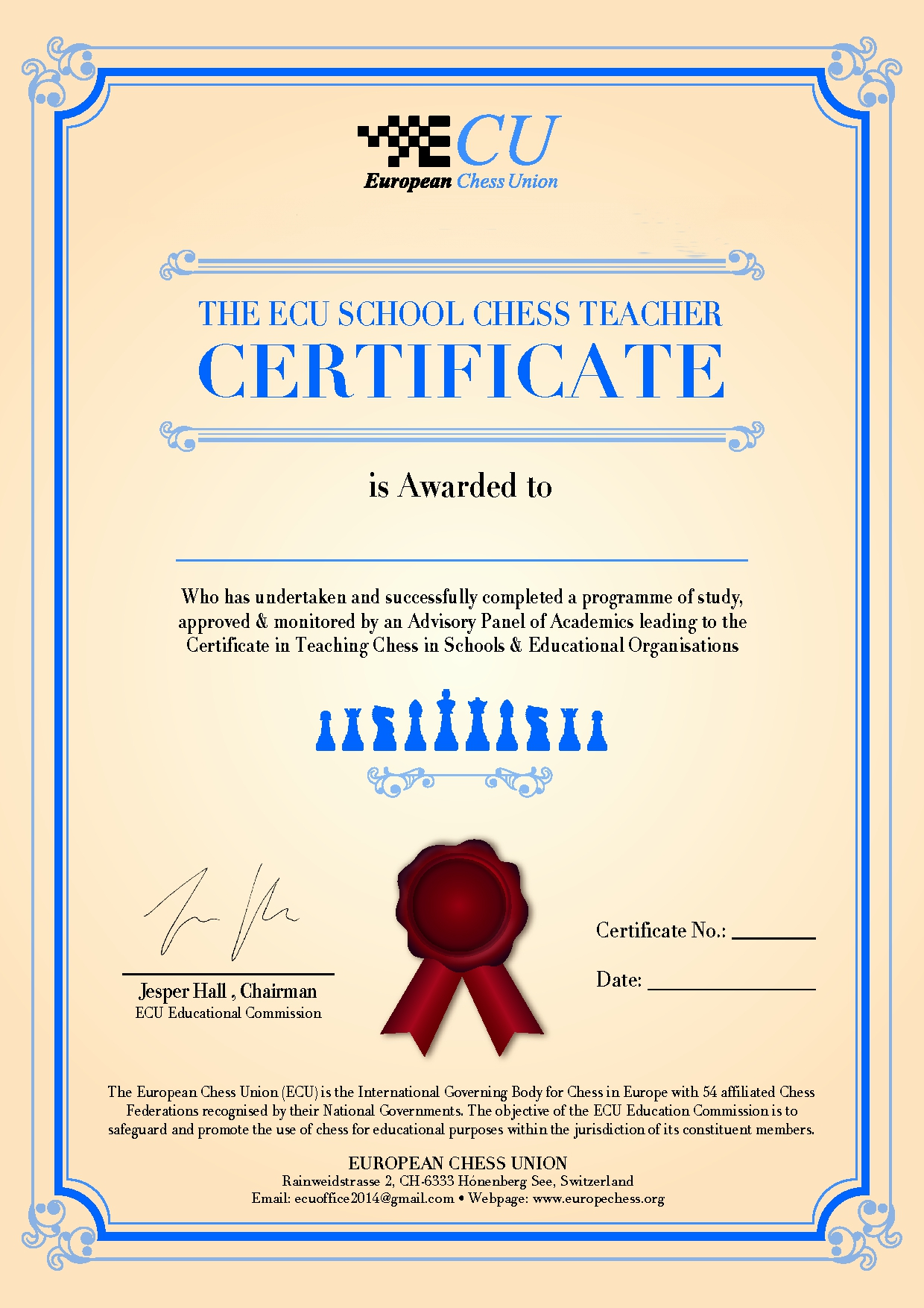 certificate teacher chess board ecu advisory teaching hope summer courses camp put standard